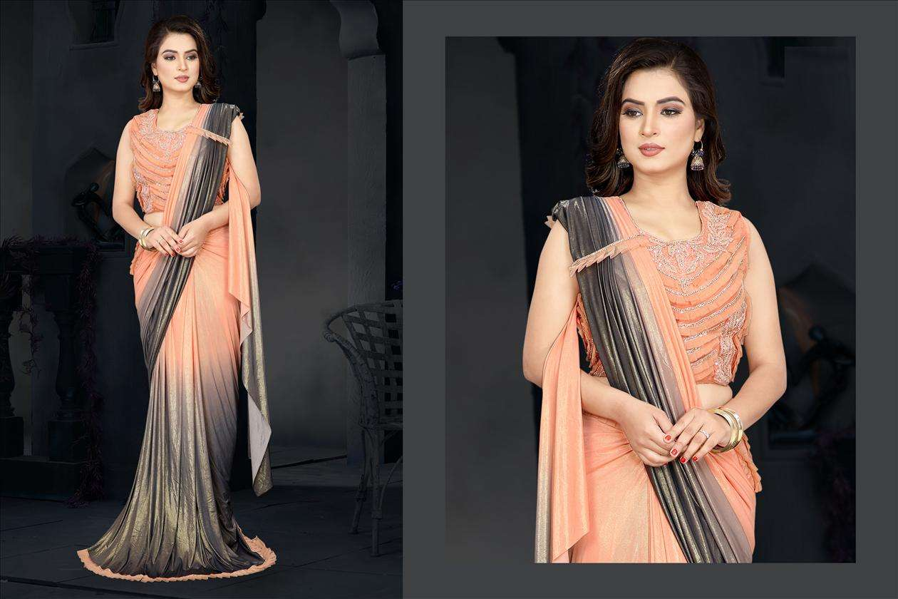 Orange Grey Fancy Lycra with Frilled Border Saree For Evening 60181