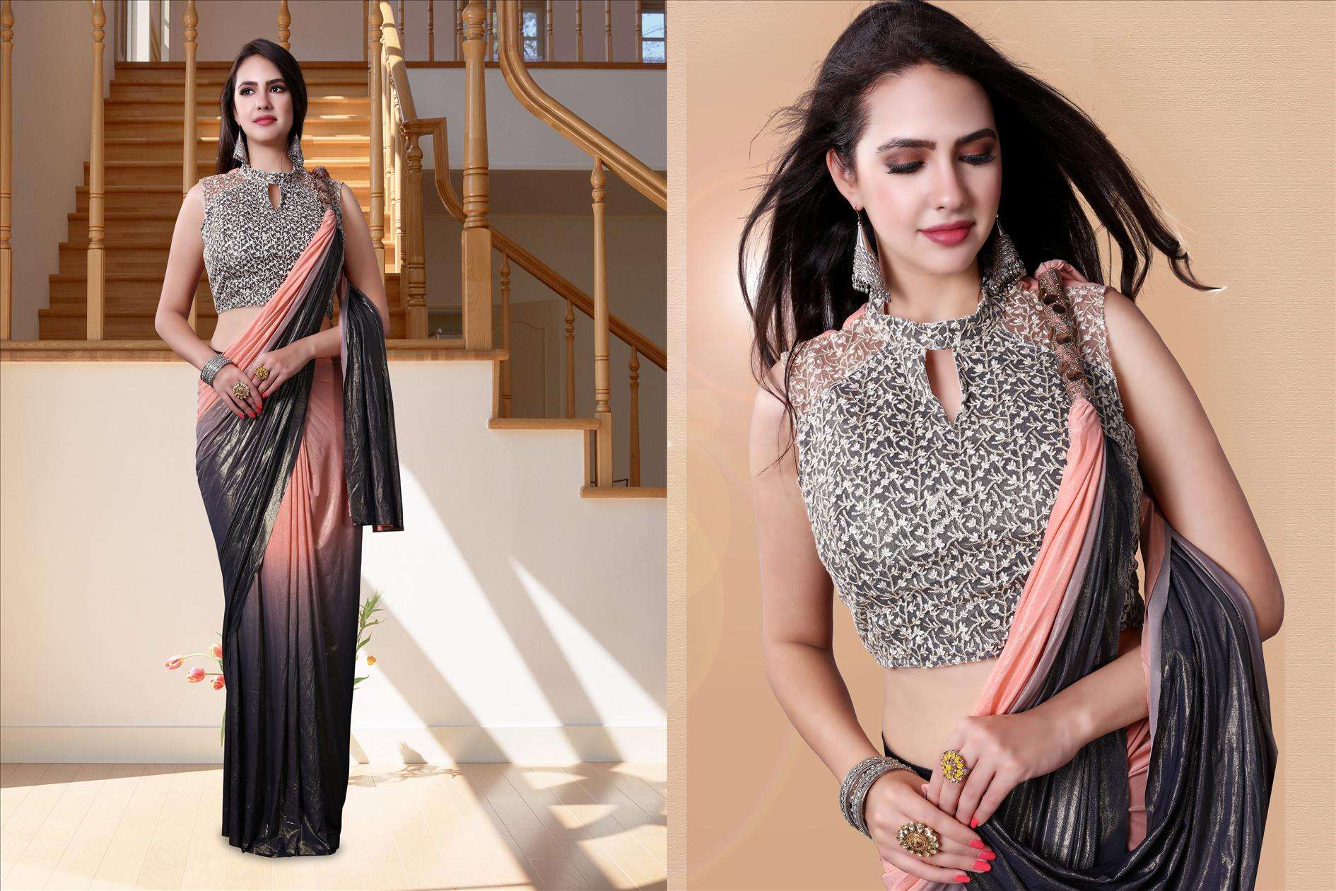 Orange Black Partywear Look Fancy Lycra Saree with Embroidered 60196