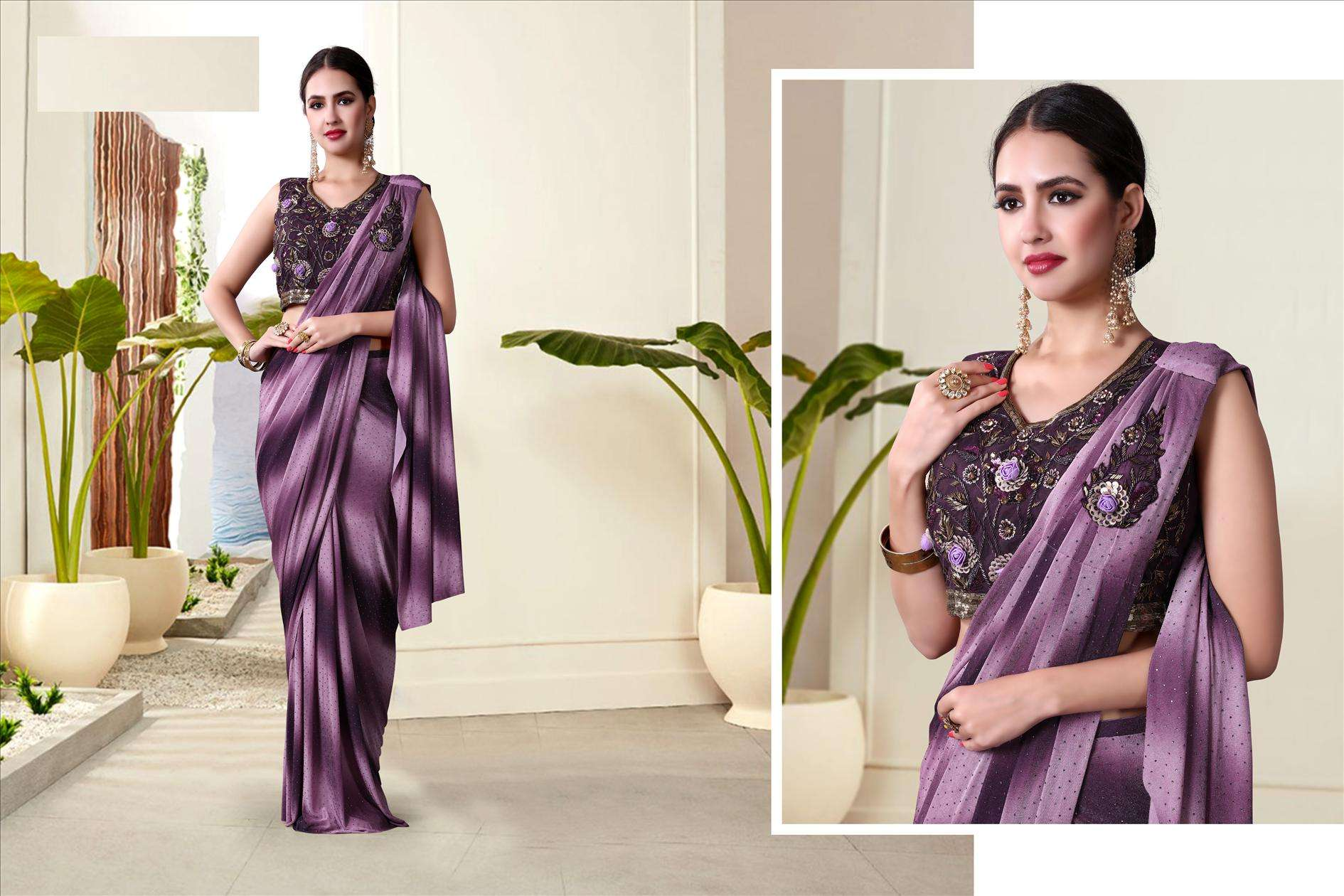 Purpal Black Fancy Lycra with Handwork Saree For Evening 60236