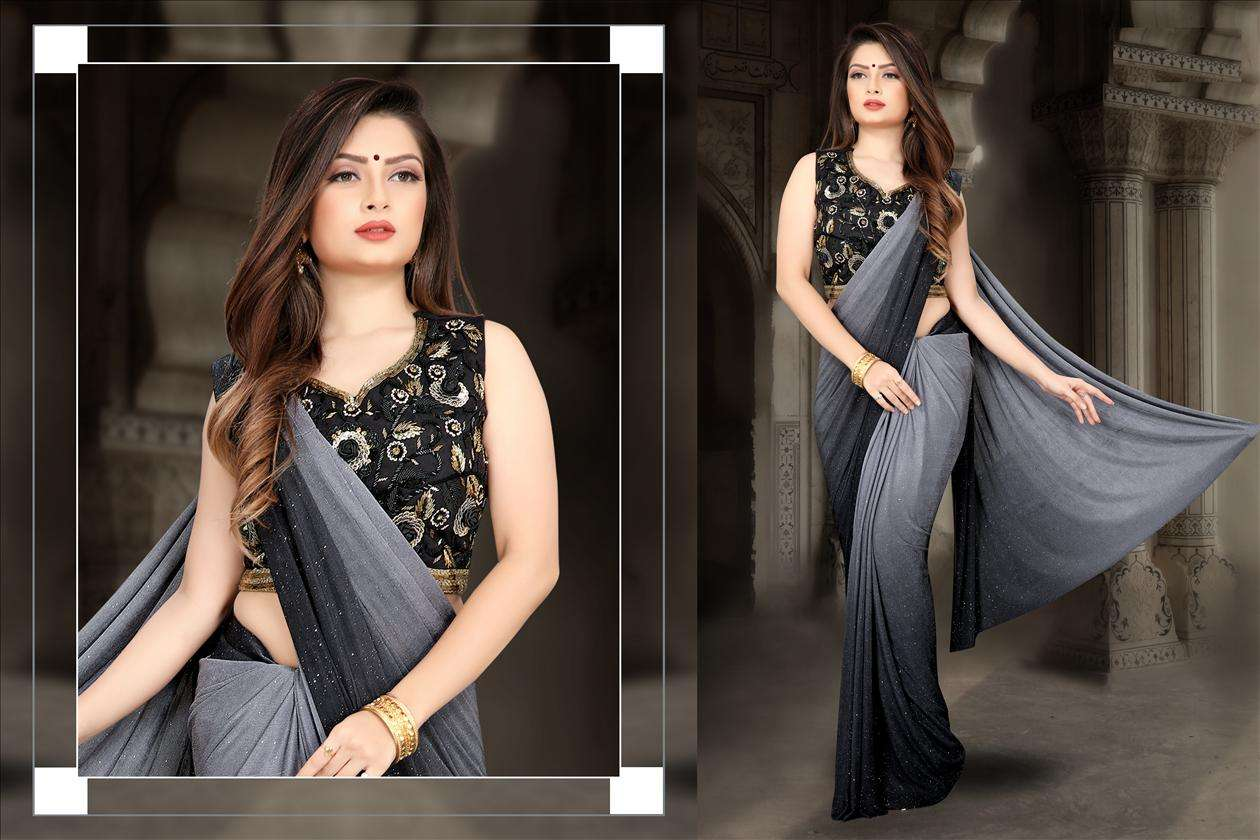 Grey Partywear Look Fancy Lycra Saree with Embroidered 60211