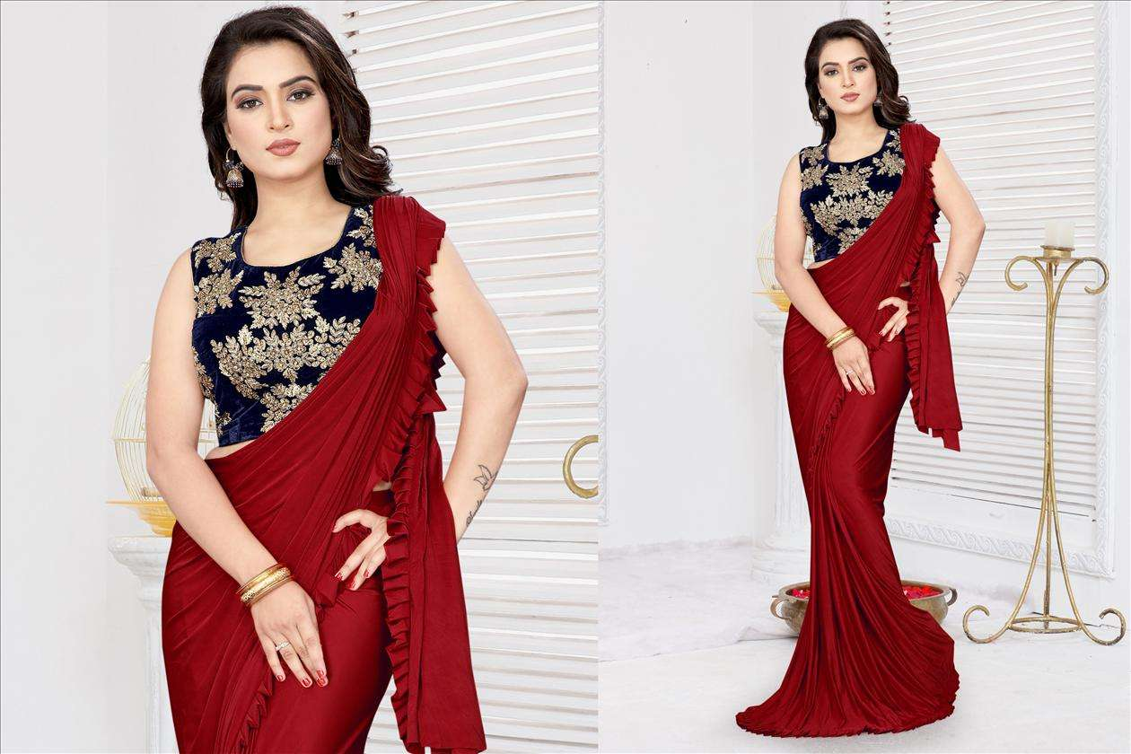 Traditional Red Fancy Lycra With HandWork Saree 60212
